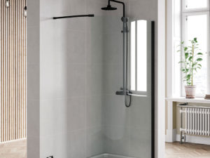Curved Wetroom Panel Black