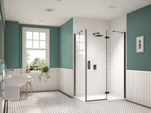 Merlyn Black Hinge and Inline Shower Enclosure